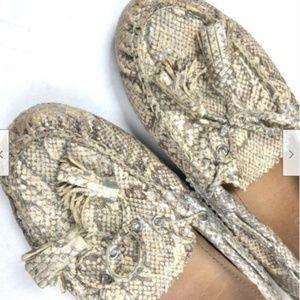 COACH 5.5 NADIA Snake Leather Loafers Tassels Flat